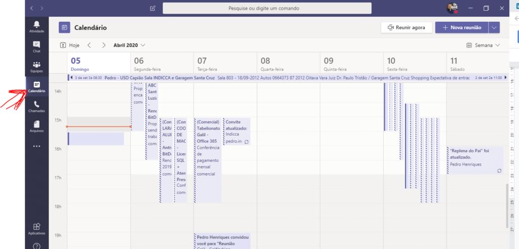 Teams Microsoft Aula Virtual - Calendário